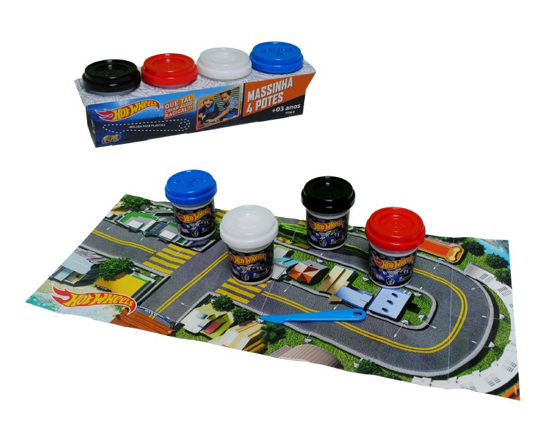 Set 4 Potes De Masas Hot Wheels Con Acc